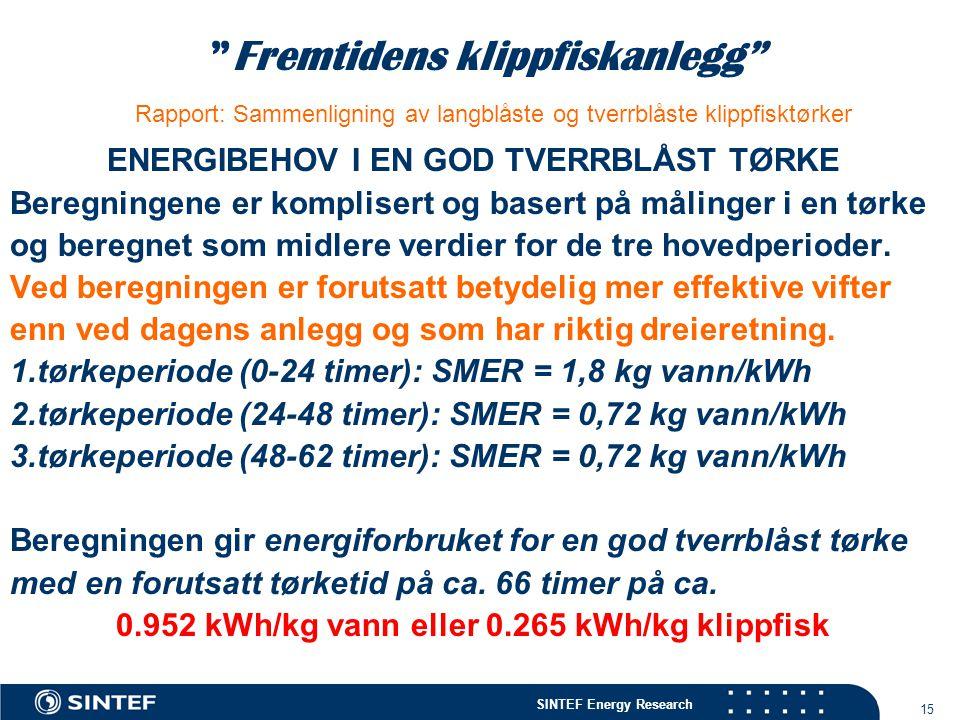 """SINTEF Energy Research 15 """"Fremtidens klippfiskanlegg"""" Rapport: Sammenligning av langblåste og tverrblåste klippfisktørker ENERGIBEHOV I EN GOD TVERRB"""