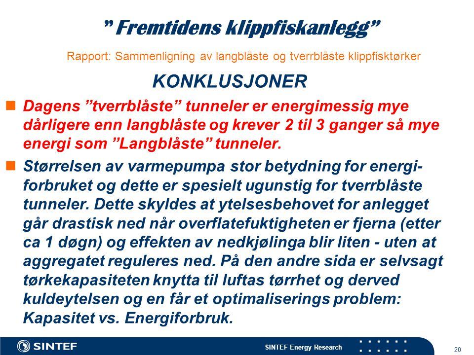 """SINTEF Energy Research 20 """"Fremtidens klippfiskanlegg"""" Rapport: Sammenligning av langblåste og tverrblåste klippfisktørker KONKLUSJONER  Dagens """"tver"""