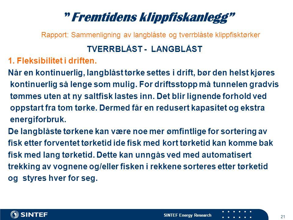 """SINTEF Energy Research 21 """"Fremtidens klippfiskanlegg"""" Rapport: Sammenligning av langblåste og tverrblåste klippfisktørker TVERRBLÅST - LANGBLÅST 1. F"""