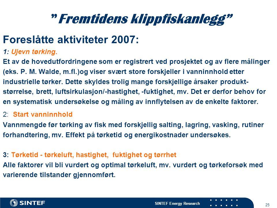 """SINTEF Energy Research 25 """"Fremtidens klippfiskanlegg"""" Foreslåtte aktiviteter 2007: 1: Ujevn tørking. Et av de hovedutfordringene som er registrert ve"""