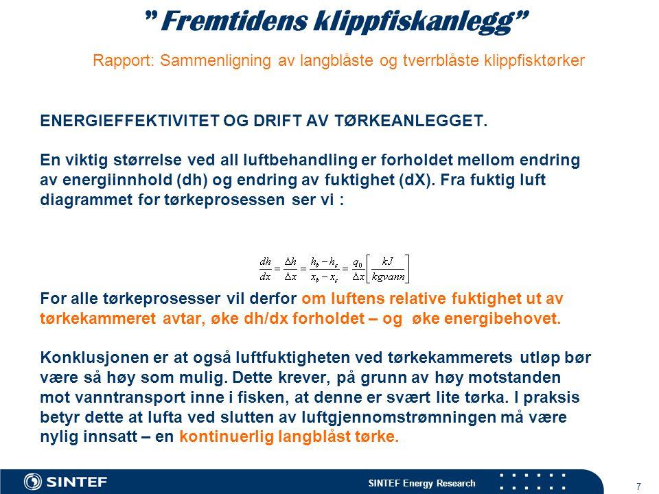 """SINTEF Energy Research 7 """"Fremtidens klippfiskanlegg"""" Rapport: Sammenligning av langblåste og tverrblåste klippfisktørker ENERGIEFFEKTIVITET OG DRIFT"""