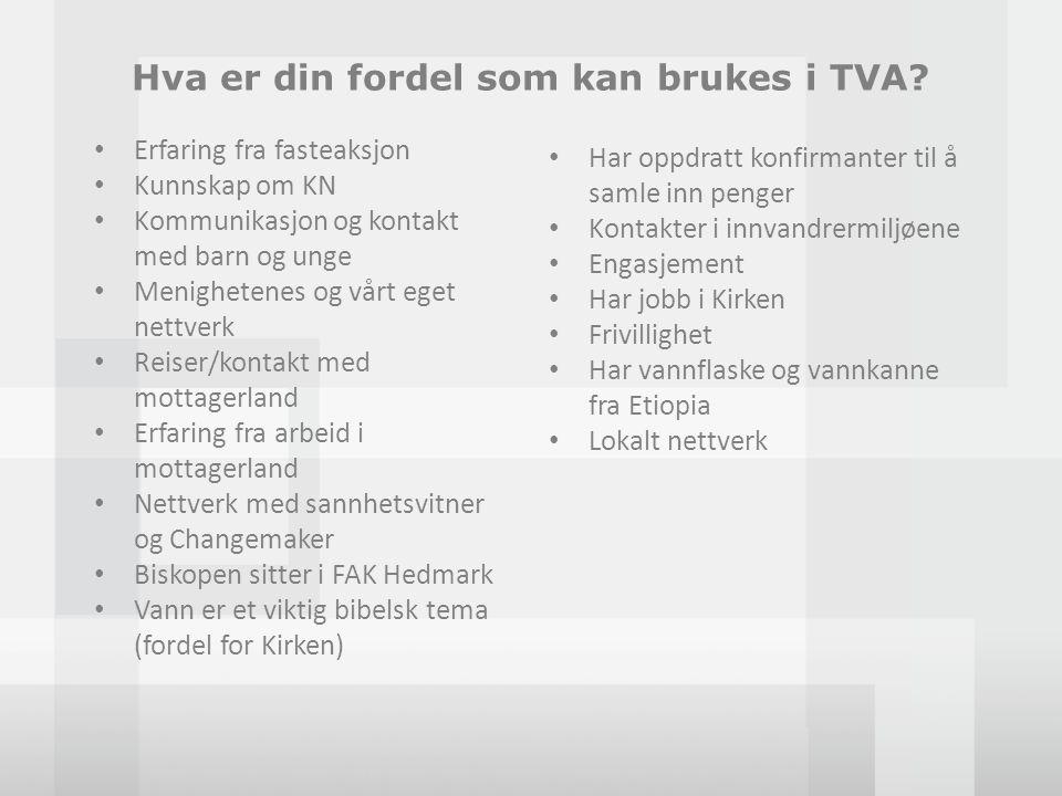 Hva er din fordel som kan brukes i TVA? • Erfaring fra fasteaksjon • Kunnskap om KN • Kommunikasjon og kontakt med barn og unge • Menighetenes og vårt
