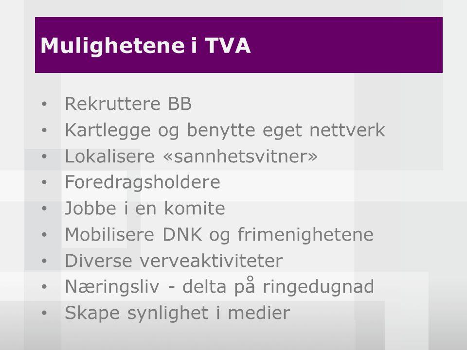 Hva ønsker du å få ut av TVA.