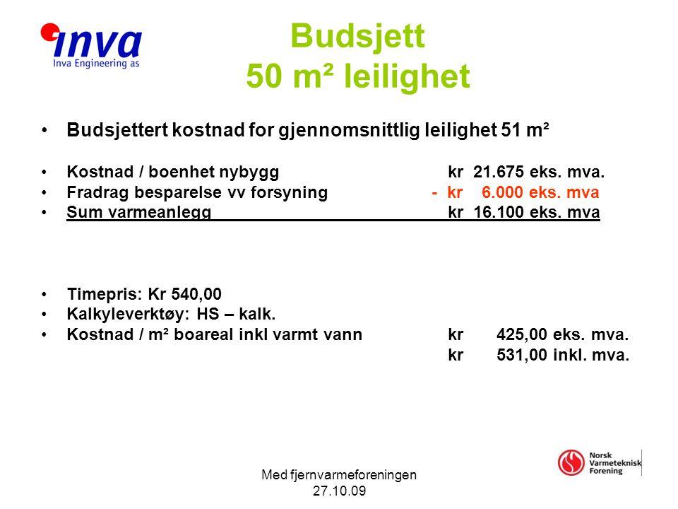 Med fjernvarmeforeningen 27.10.09 Budsjett 50 m² leilighet •Budsjettert kostnad for gjennomsnittlig leilighet 51 m² •Kostnad / boenhet nybyggkr 21.675 eks.