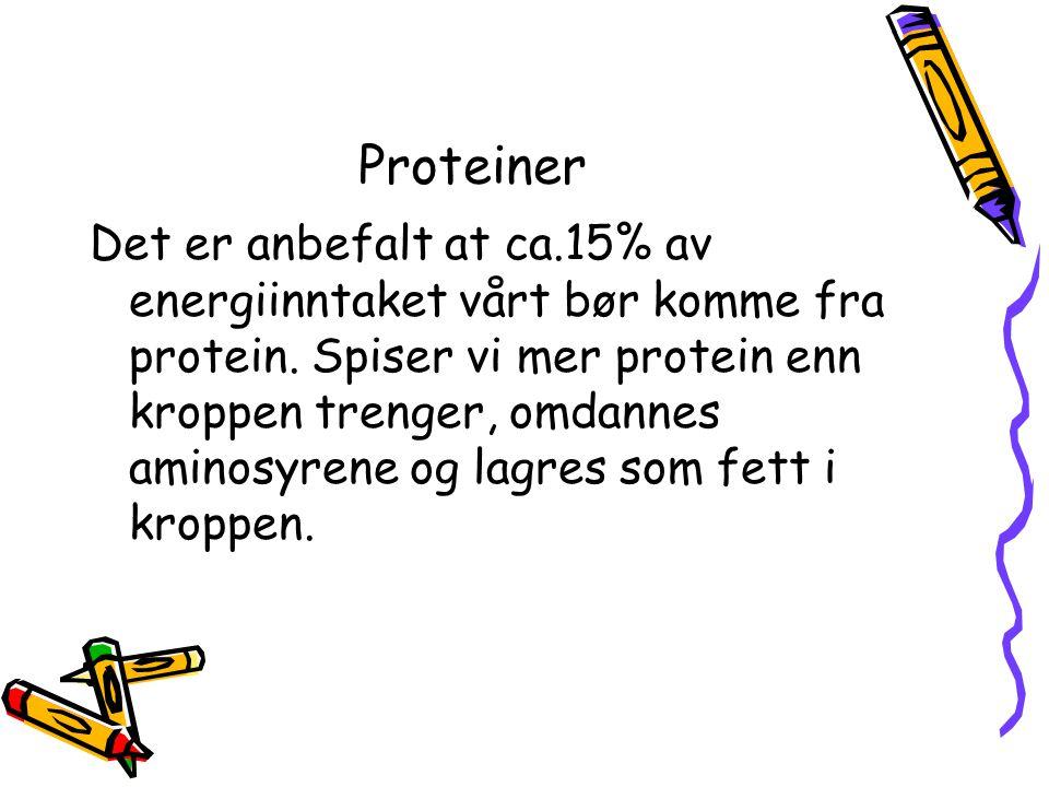 Proteiner Det er anbefalt at ca.15% av energiinntaket vårt bør komme fra protein. Spiser vi mer protein enn kroppen trenger, omdannes aminosyrene og l