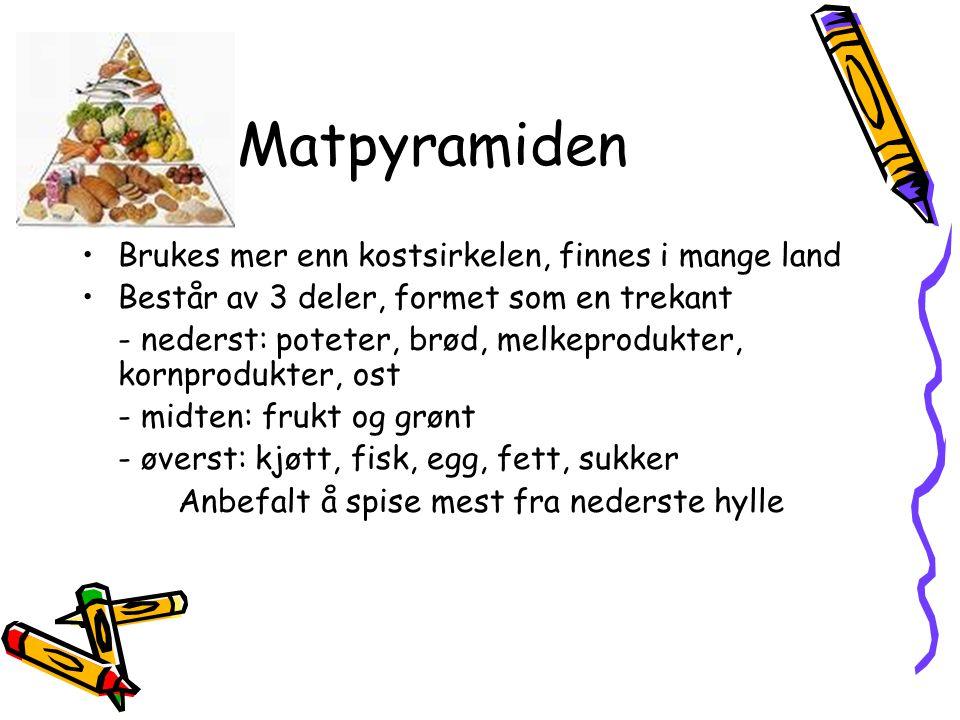 Matpyramiden •Brukes mer enn kostsirkelen, finnes i mange land •Består av 3 deler, formet som en trekant - nederst: poteter, brød, melkeprodukter, kor