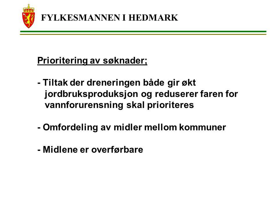 FYLKESMANNEN I HEDMARK Prioritering av søknader; - Tiltak der dreneringen både gir økt jordbruksproduksjon og reduserer faren for vannforurensning ska