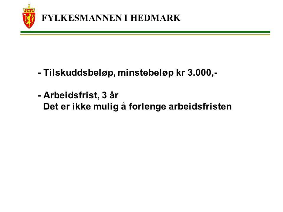 FYLKESMANNEN I HEDMARK - Tilskuddsbeløp, minstebeløp kr 3.000,- - Arbeidsfrist, 3 år Det er ikke mulig å forlenge arbeidsfristen