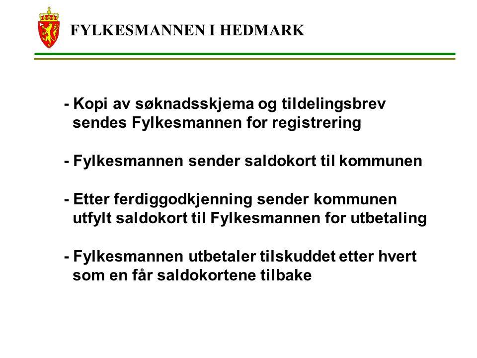 FYLKESMANNEN I HEDMARK - Kopi av søknadsskjema og tildelingsbrev sendes Fylkesmannen for registrering - Fylkesmannen sender saldokort til kommunen - E