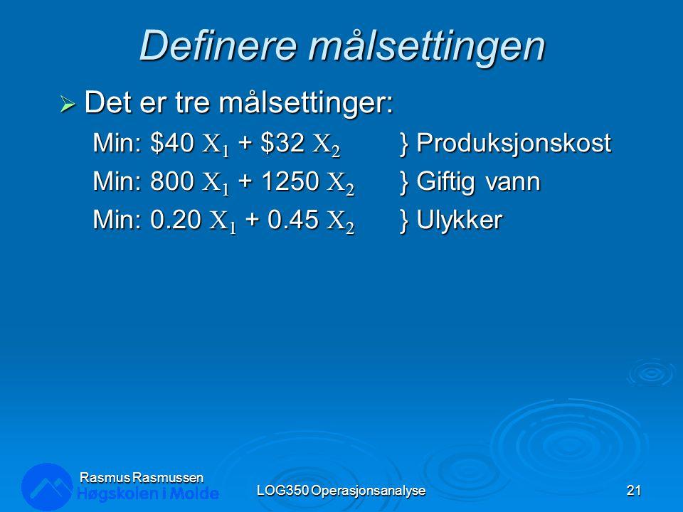 Definere målsettingen  Det er tre målsettinger: Min: $40 X 1 + $32 X 2 } Produksjonskost Min: 800 X 1 + 1250 X 2 } Giftig vann Min: 0.20 X 1 + 0.45 X
