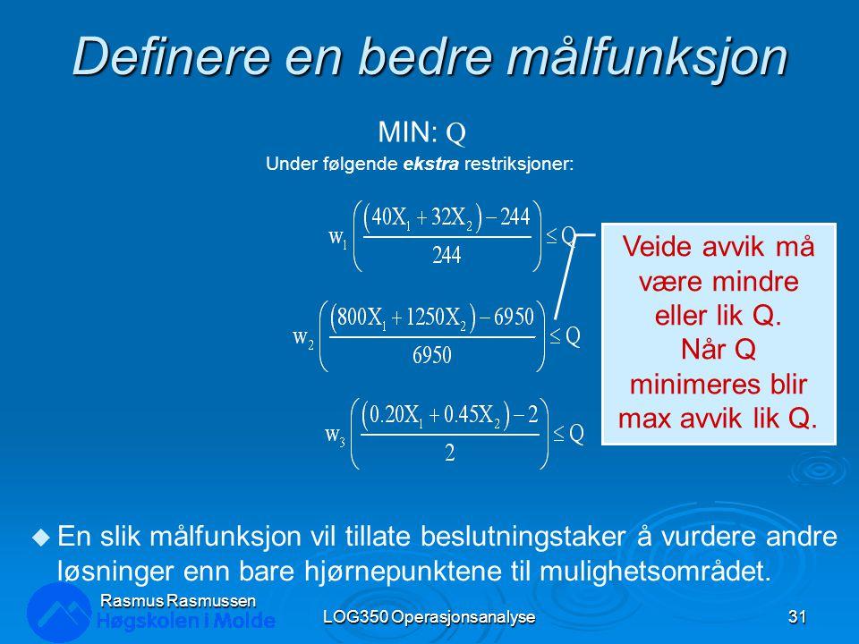 Definere en bedre målfunksjon LOG350 Operasjonsanalyse31 Rasmus Rasmussen Under følgende ekstra restriksjoner: MIN: Q u En slik målfunksjon vil tillat