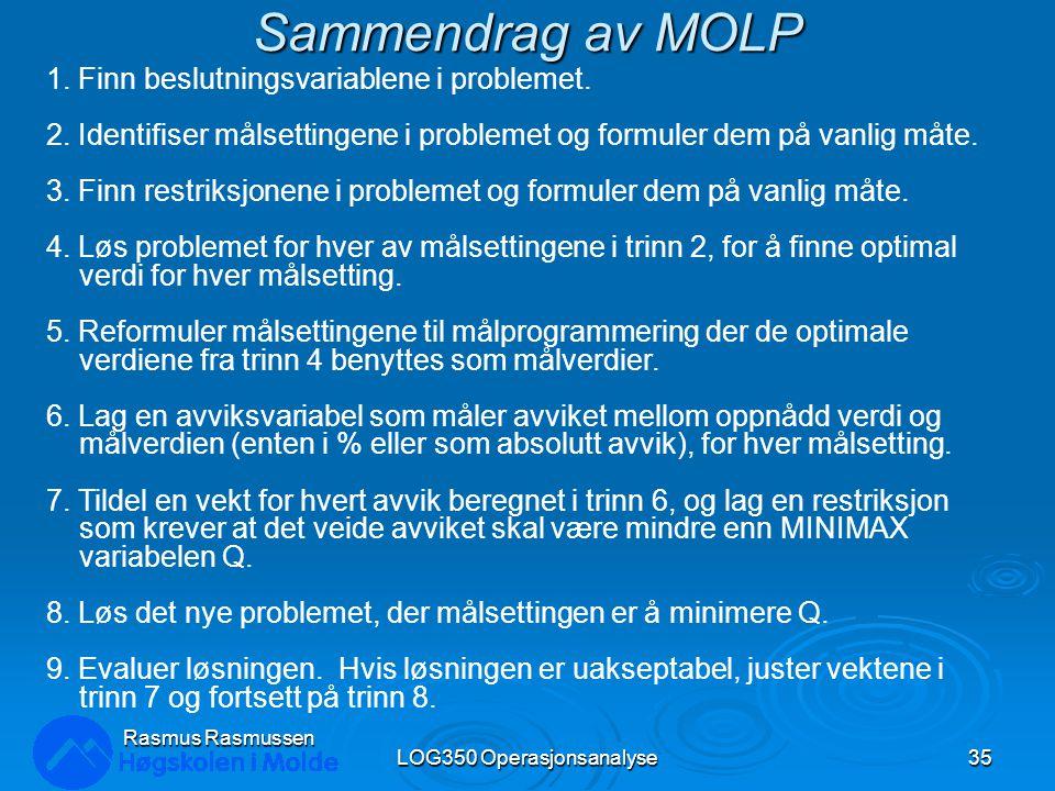 Sammendrag av MOLP LOG350 Operasjonsanalyse35 Rasmus Rasmussen 1. Finn beslutningsvariablene i problemet. 2. Identifiser målsettingene i problemet og