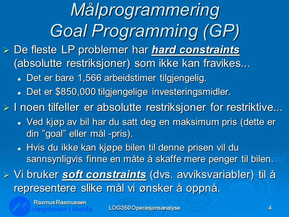 Mulighetsområde LOG350 Operasjonsanalyse25 Rasmus Rasmussen X1X1 X1X1 1 2 3 4 5 1 6 7 8 9 10 11 12 2 34 5 6 7 8 9 101112 Mulighetsområdet 0 0 X2X2 High Grade: 12X 1 + 4 X 2 ≥ 48 Medium Grade: 4 X 1 + 4 X 2 ≥ 28 Low Grade: 10 X 1 + 20 X 2 ≥ 100