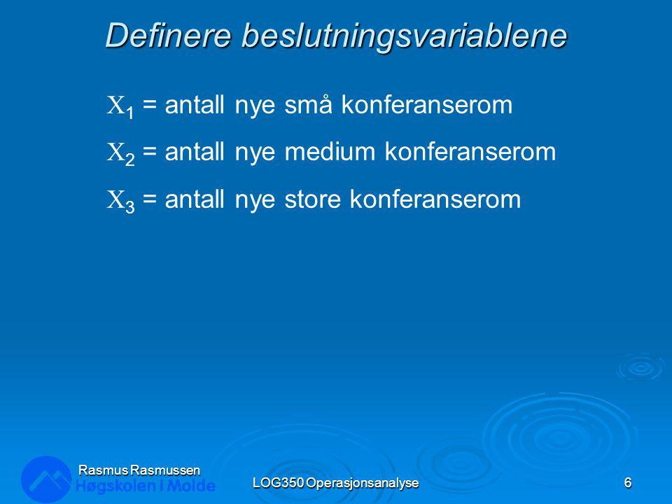 Definere beslutningsvariablene LOG350 Operasjonsanalyse6 Rasmus Rasmussen X 1 = antall nye små konferanserom X 2 = antall nye medium konferanserom X 3