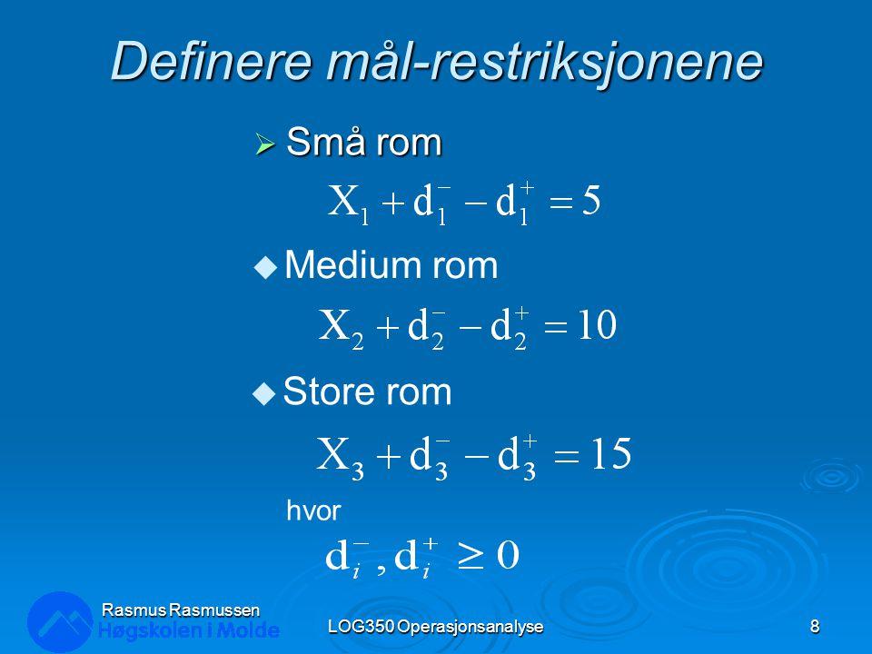 Definere mål-restriksjonene (forts.)  Total utvidelse LOG350 Operasjonsanalyse9 Rasmus Rasmussen u Totale kostnader (i $1,000) hvor