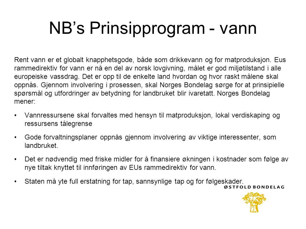 NB's Prinsipprogram - vann Rent vann er et globalt knapphetsgode, både som drikkevann og for matproduksjon.
