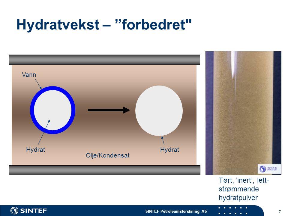SINTEF Petroleumsforskning AS 8 Cold Flow-prinsippet En stabilisert brønn- strøm som inne- holder hydrat- og vokspulver som ikke setter seg fast Varm olje og gass (+vann) produsert fra reservoaret.