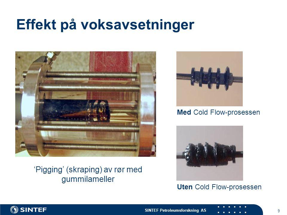 SINTEF Petroleumsforskning AS 9 Effekt på voksavsetninger 'Pigging' (skraping) av rør med gummilameller Uten Cold Flow-prosessen Med Cold Flow-prosess