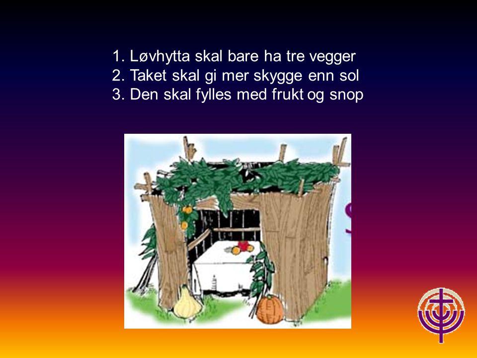 1.Løvhytta skal bare ha tre vegger 2.Taket skal gi mer skygge enn sol 3.Den skal fylles med frukt og snop
