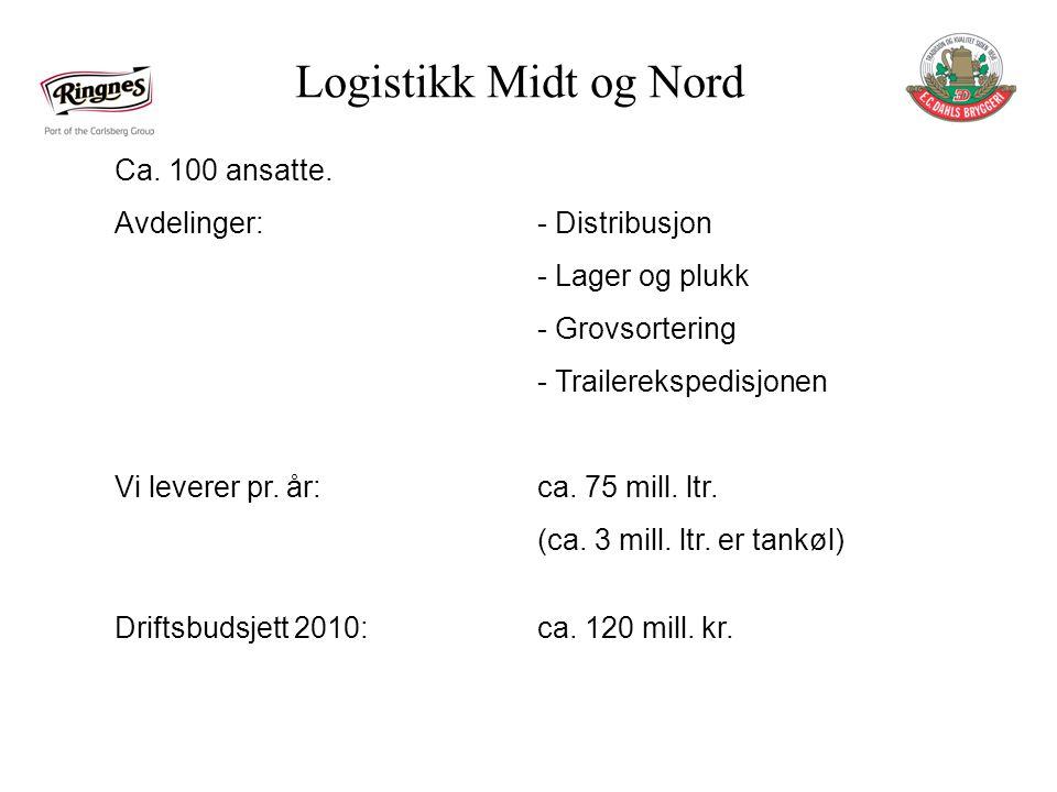 Logistikk Midt og Nord Ca.100 ansatte.
