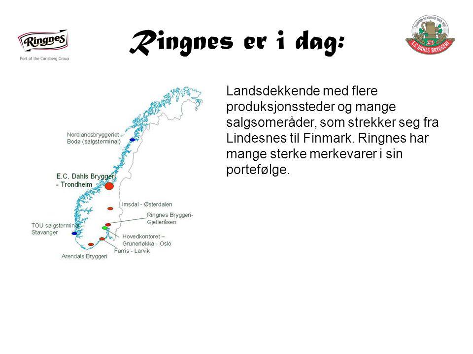 Ringnes er i dag: Landsdekkende med flere produksjonssteder og mange salgsomeråder, som strekker seg fra Lindesnes til Finmark.