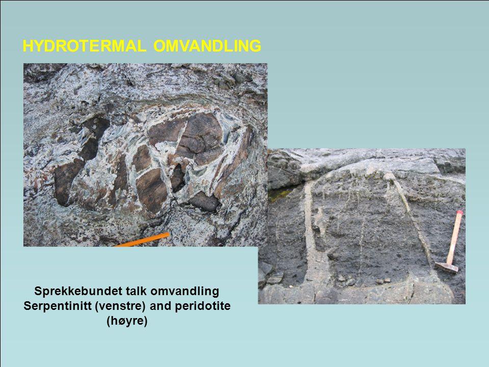 HYDROTERMAL OMVANDLING Sprekkebundet talk omvandling Serpentinitt (venstre) and peridotite (høyre)
