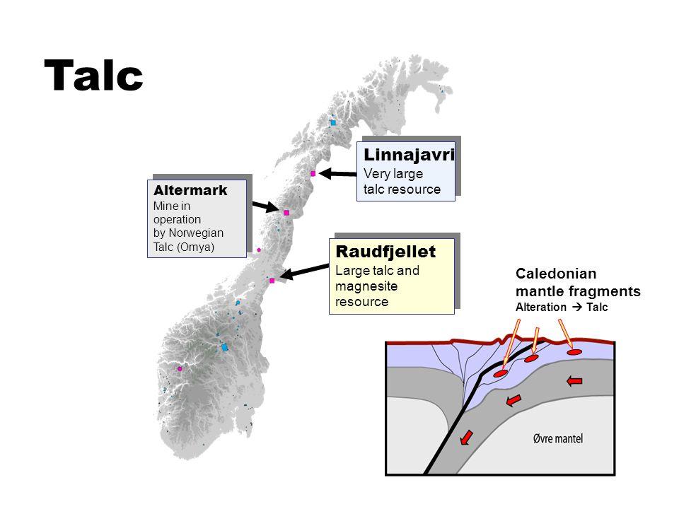 Talc Linnajavri Very large talc resource Altermark Mine in operation by Norwegian Talc (Omya) Altermark Mine in operation by Norwegian Talc (Omya) Rau