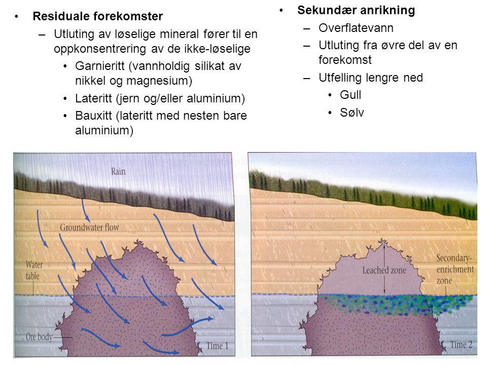 •Residuale forekomster –Utluting av løselige mineral fører til en oppkonsentrering av de ikke-løselige •Garnieritt (vannholdig silikat av nikkel og ma