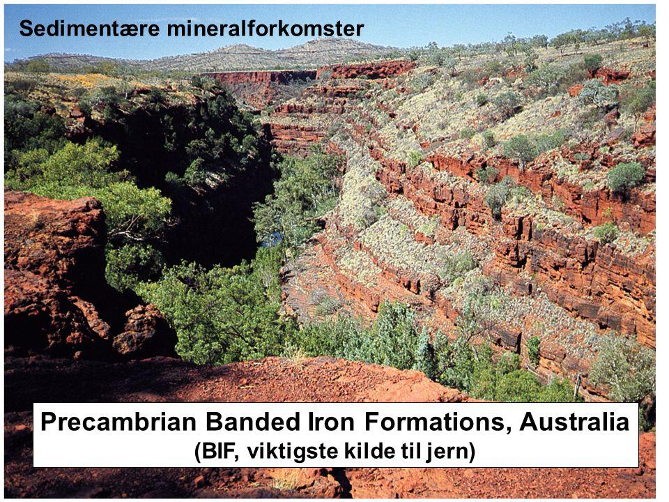Precambrian Banded Iron Formations, Australia (BIF, viktigste kilde til jern) Sedimentære mineralforkomster
