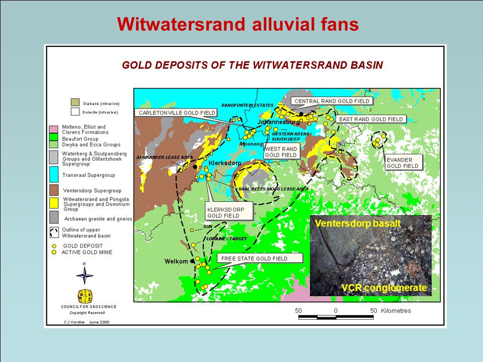 Witwatersrand alluvial fans Ventersdorp basalt VCR conglomerate