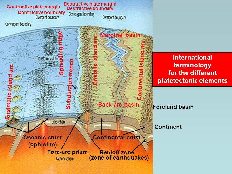 Benioff zone Spreading ridge Subduction trench Fore-arc prism Ensialic island arc Ensimatic island arc Continental island arc Marginal basin Back-arc