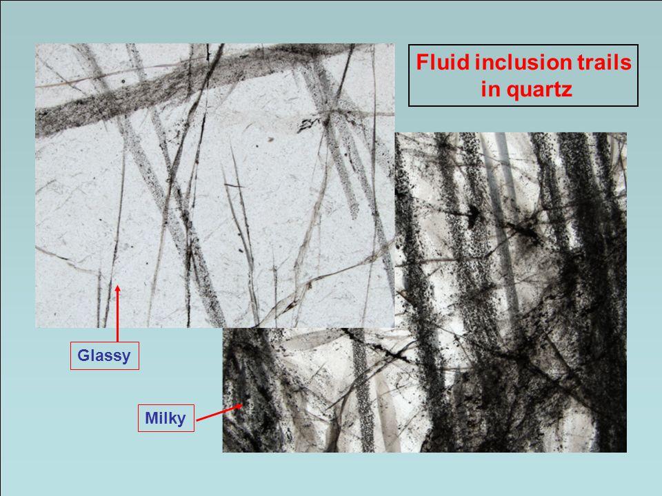 Fluid inclusion trails in quartz Glassy Milky