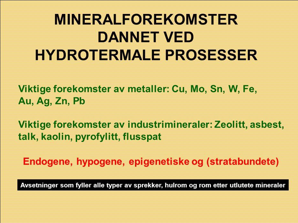 MINERALFOREKOMSTER DANNET VED HYDROTERMALE PROSESSER Viktige forekomster av metaller: Cu, Mo, Sn, W, Fe, Au, Ag, Zn, Pb Viktige forekomster av industr