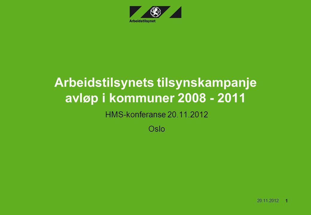 Arbeidstilsynets tilsynskampanje avløp i kommuner 2008 - 2011 HMS-konferanse 20.11.2012 Oslo 20.11.2012 1