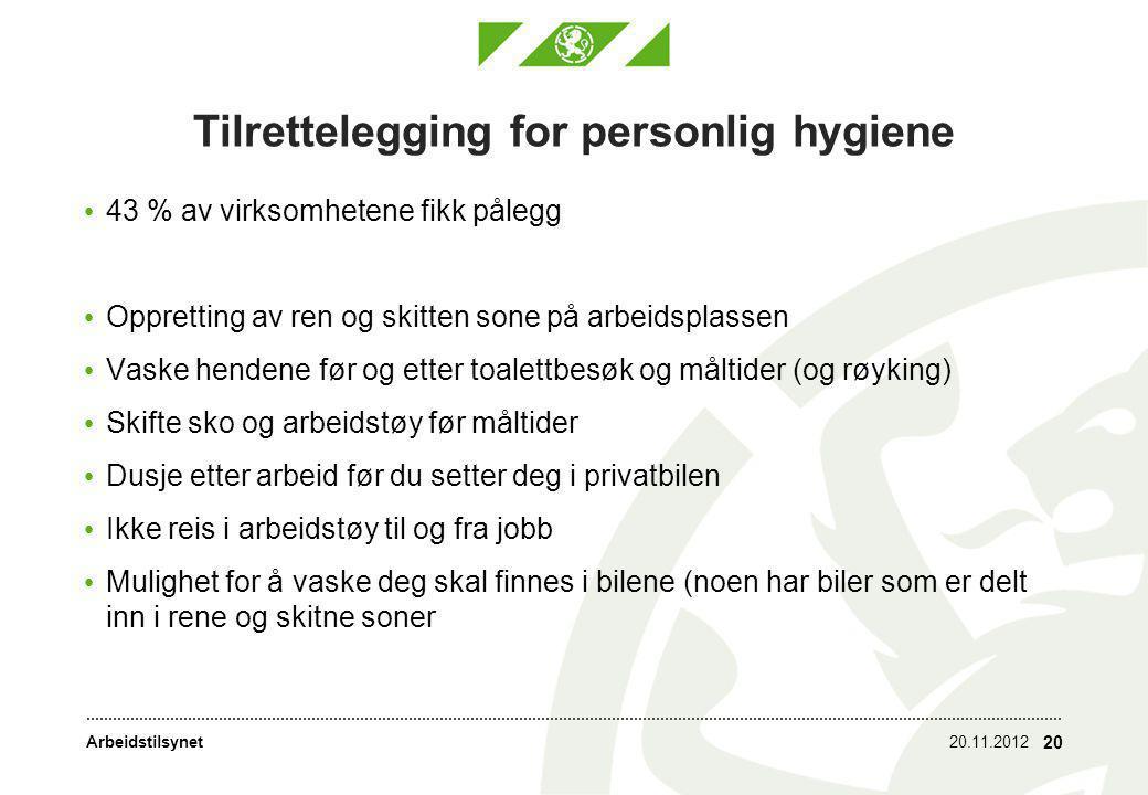 Arbeidstilsynet Tilrettelegging for personlig hygiene • 43 % av virksomhetene fikk pålegg • Oppretting av ren og skitten sone på arbeidsplassen • Vask