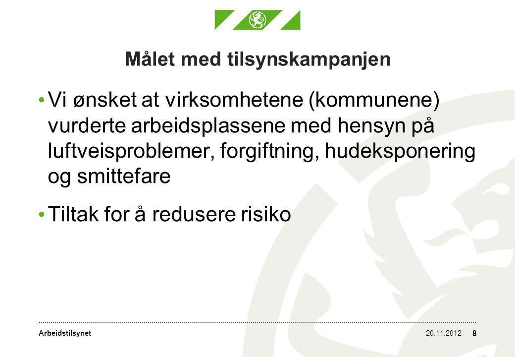 Arbeidstilsynet Målet med tilsynskampanjen • Vi ønsket at virksomhetene (kommunene) vurderte arbeidsplassene med hensyn på luftveisproblemer, forgiftning, hudeksponering og smittefare • Tiltak for å redusere risiko 20.11.2012 8