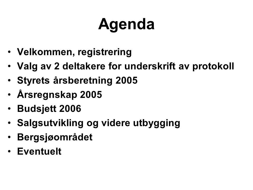 Agenda •Velkommen, registrering •Valg av 2 deltakere for underskrift av protokoll •Styrets årsberetning 2005 •Årsregnskap 2005 •Budsjett 2006 •Salgsut