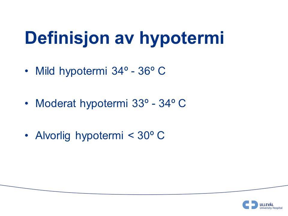 Eliminasjon; spesielle forhold ved hypotermi •Nyrefunksjonen er vanligvis ikke påvirket av hypotermibehandlingen, såfremt blodtrykket er tilfredsstillende (nyrene kan være påvirket av asfyksien) •Reabsorbsjon av Na og Cl er redusert, dette normaliseres ved oppvarming.