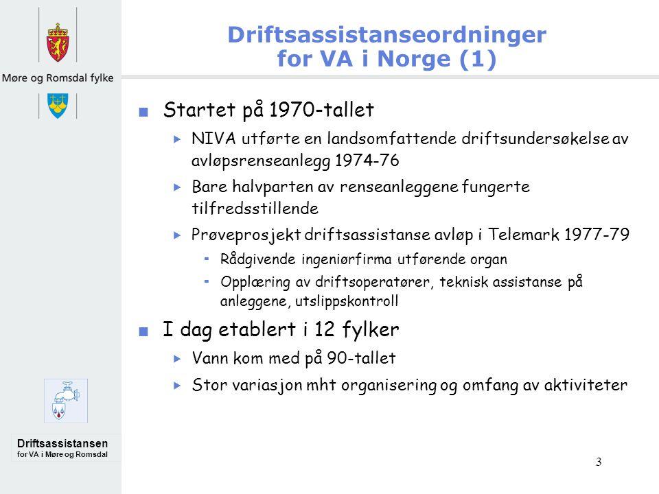Driftsassistansen for VA i Møre og Romsdal 3 Driftsassistanseordninger for VA i Norge (1)  Startet på 1970-tallet  NIVA utførte en landsomfattende driftsundersøkelse av avløpsrenseanlegg 1974-76  Bare halvparten av renseanleggene fungerte tilfredsstillende  Prøveprosjekt driftsassistanse avløp i Telemark 1977-79  Rådgivende ingeniørfirma utførende organ  Opplæring av driftsoperatører, teknisk assistanse på anleggene, utslippskontroll I dag etablert i 12 fylker  Vann kom med på 90-tallet  Stor variasjon mht organisering og omfang av aktiviteter