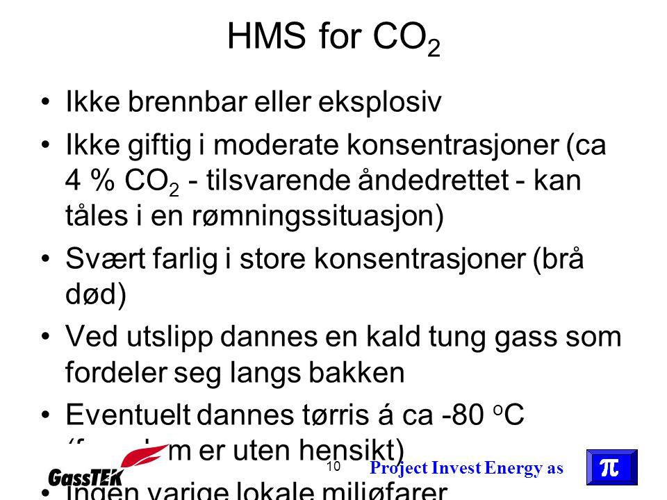 10 HMS for CO 2 •Ikke brennbar eller eksplosiv •Ikke giftig i moderate konsentrasjoner (ca 4 % CO 2 - tilsvarende åndedrettet - kan tåles i en rømning