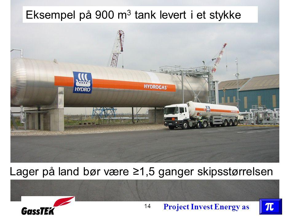 14 Lager på land bør være ≥1,5 ganger skipsstørrelsen Eksempel på 900 m 3 tank levert i et stykke Project Invest Energy as