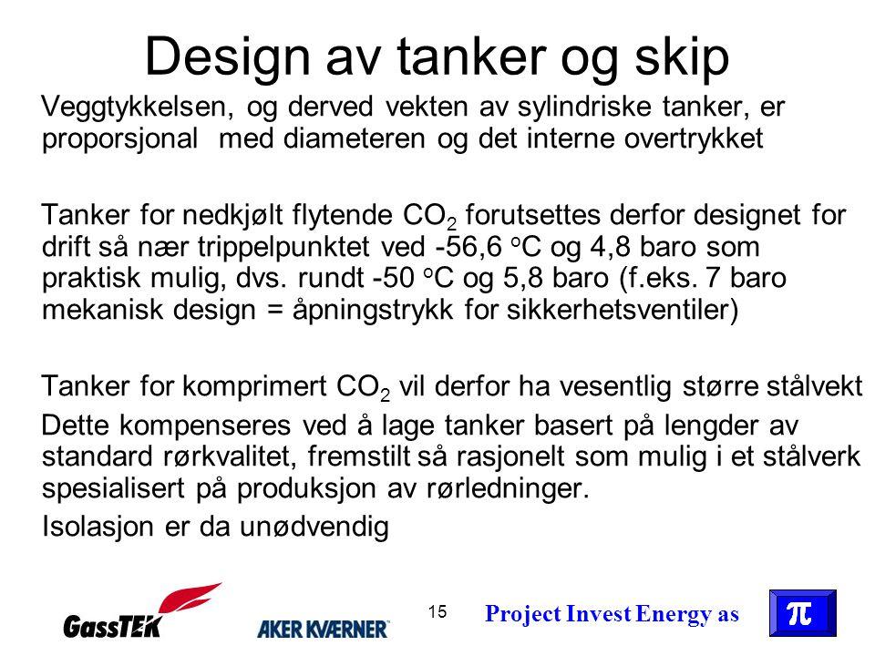 15 Design av tanker og skip Veggtykkelsen, og derved vekten av sylindriske tanker, er proporsjonal med diameteren og det interne overtrykket Tanker fo