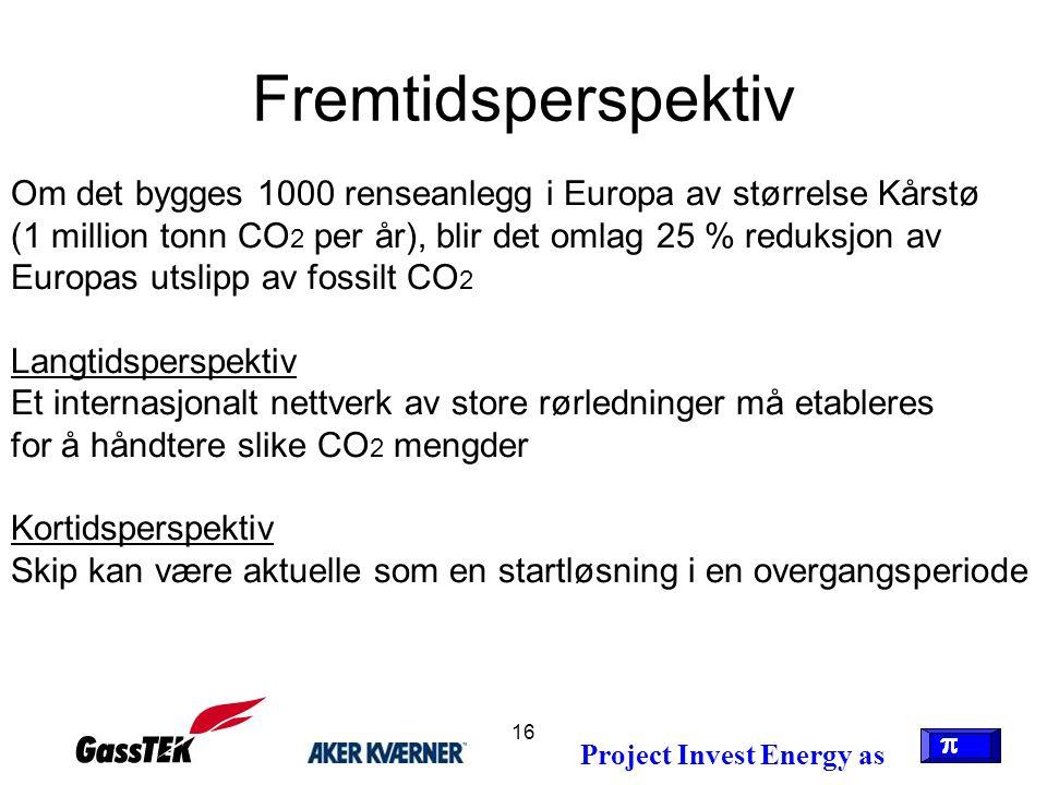 16 Fremtidsperspektiv Om det bygges 1000 renseanlegg i Europa av størrelse Kårstø (1 million tonn CO 2 per år), blir det omlag 25 % reduksjon av Europ