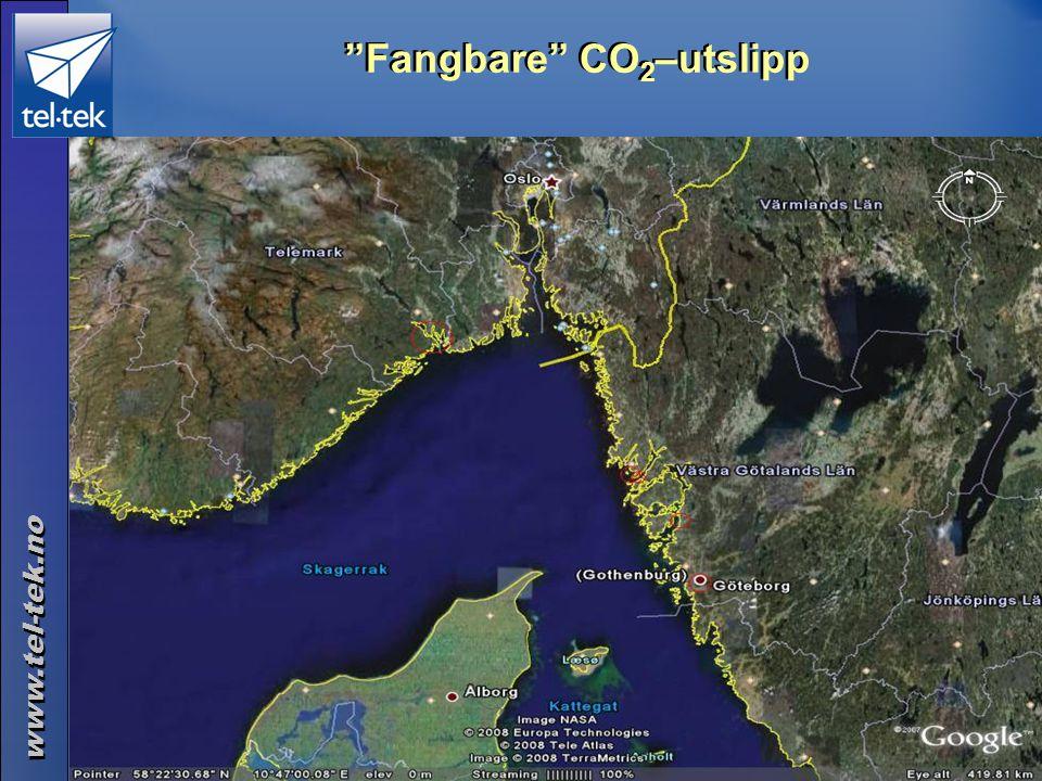 "www.tel-tek.no ©Tel-Tek 2014.06.30 ""Fangbare"" CO 2 –utslipp Industrien i Grenland: 2,0 mill t. Raffineri Lysekil: 1,7 mill t Borealis i Stenungsund: 0"