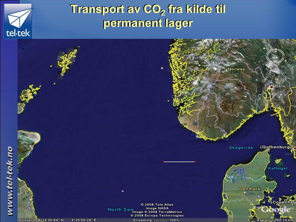 www.tel-tek.no ©Tel-Tek 2014.06.30 Transport av CO 2 fra kilde til permanent lager (= 100 km) Rørledninger •Skip – flytende, nedkjølt •Skip – komprime