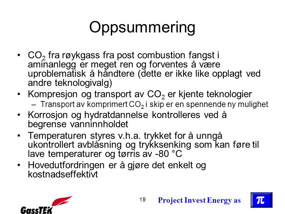 19 Project Invest Energy as Oppsummering •CO 2 fra røykgass fra post combustion fangst i aminanlegg er meget ren og forventes å være uproblematisk å h