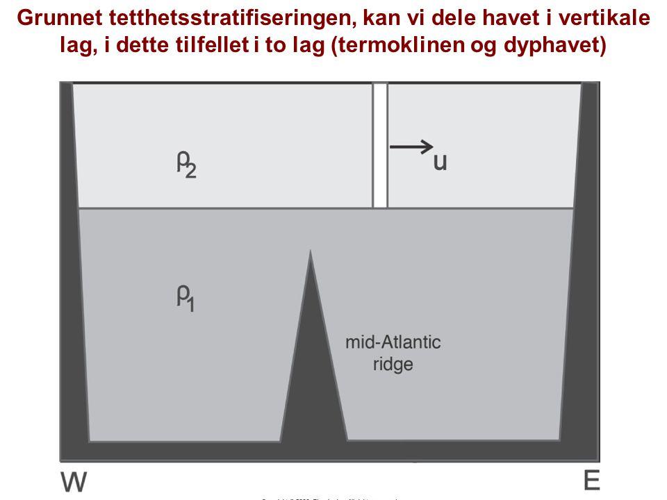 Grunnet tetthetsstratifiseringen, kan vi dele havet i vertikale lag, i dette tilfellet i to lag (termoklinen og dyphavet)