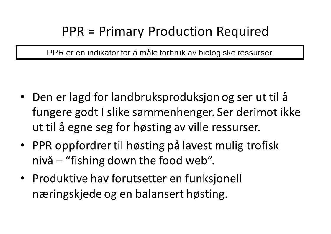 PPR = Primary Production Required • Den er lagd for landbruksproduksjon og ser ut til å fungere godt I slike sammenhenger. Ser derimot ikke ut til å e
