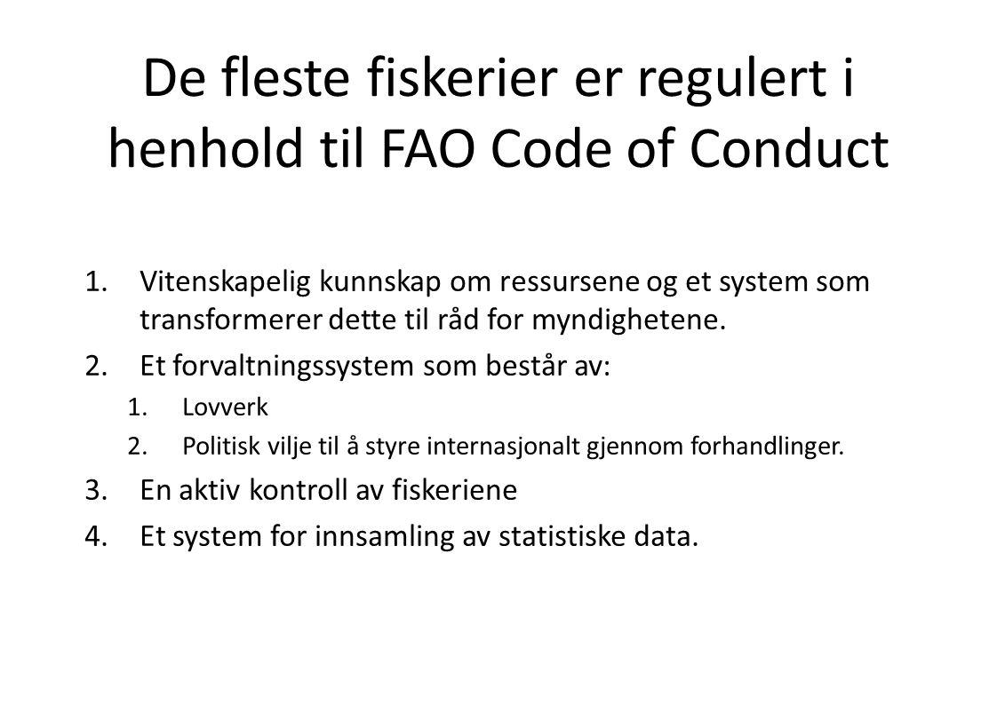 De fleste fiskerier er regulert i henhold til FAO Code of Conduct 1.Vitenskapelig kunnskap om ressursene og et system som transformerer dette til råd