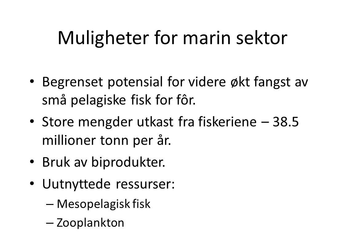 Muligheter for marin sektor • Begrenset potensial for videre økt fangst av små pelagiske fisk for fôr. • Store mengder utkast fra fiskeriene – 38.5 mi